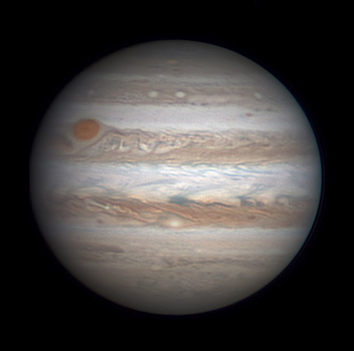 Jupiter with very red Great Red Spot on Jan. 12, 2016