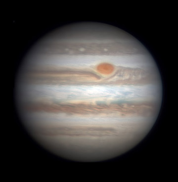 Jupiter with Great Red Spot on Jan. 2, 2016