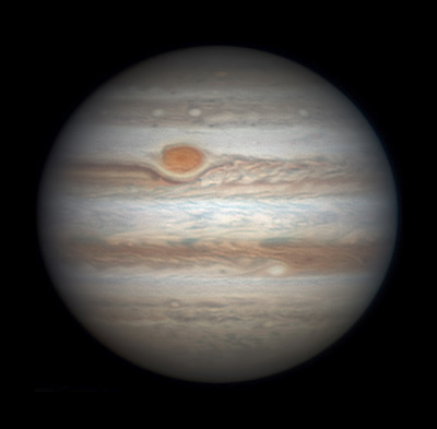 Jupiter with very red Great Red Spot on February 20, 2016