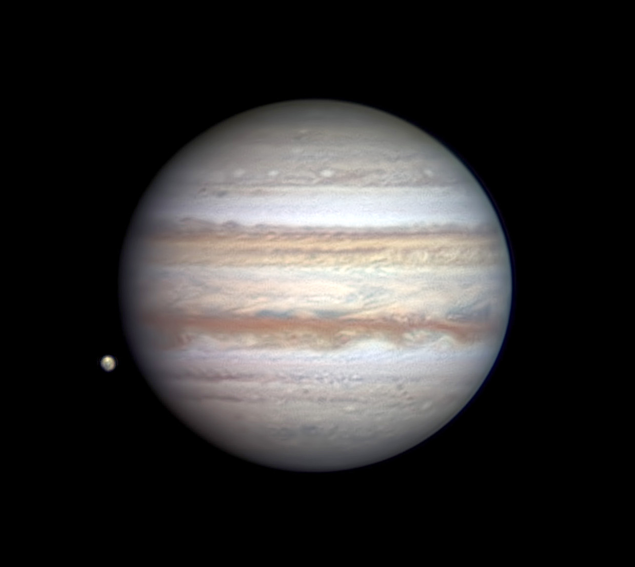 Jupiter's non-Red-Spot side, imaged by Christopher Go on April 22, 2020