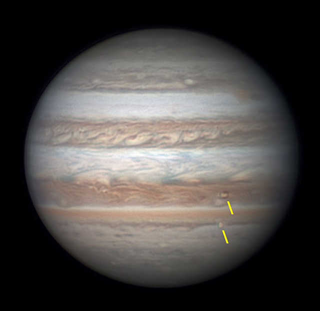 Jupiter with Io and Europa in transit, June 16, 2017