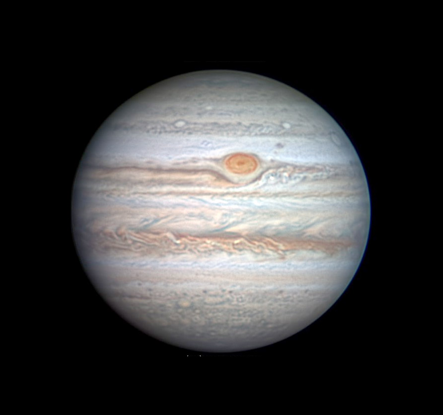 Jupiter with Great Red Spot on June 3, 2020