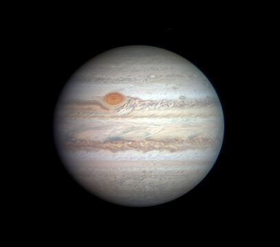 Jupiter on April 11, 2020, imaged by Christopher Go. South here is up. The Great Red Spot is still quite intact, after its drama last year when it appeared to shell fragments of orange stuff. Pale tan material still fills the Equatorial Zone, usually white.