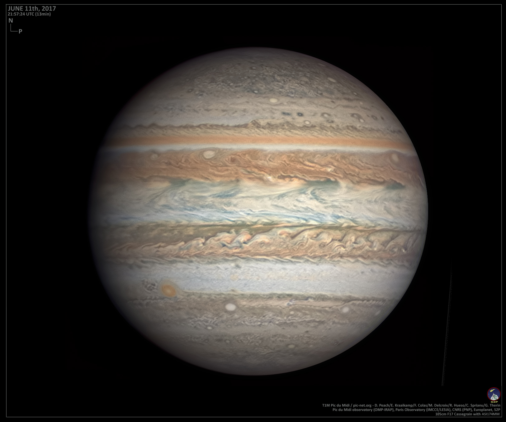 Extremely high quality image of Jupiter by Damian Peach et al., June 11, 2017