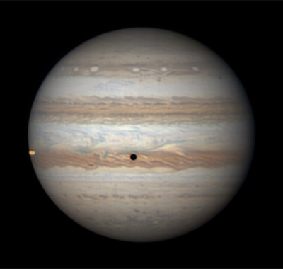 Jupiter, Io, and its shadow on June 16, 2016