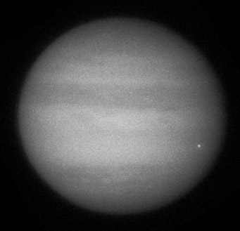Jupiter impact flare, June 3, 2010