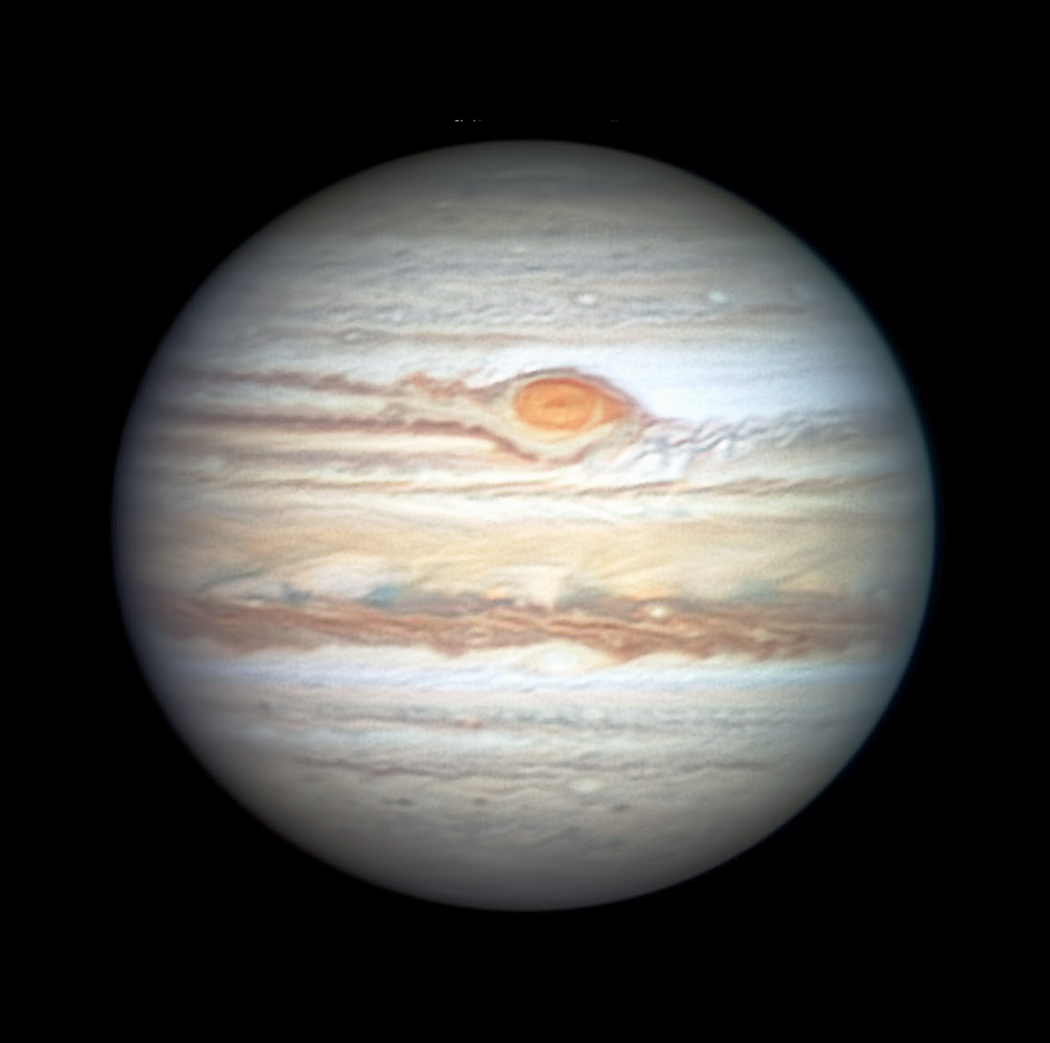 Jupiter with flaking Red Spot, May 27, 2019