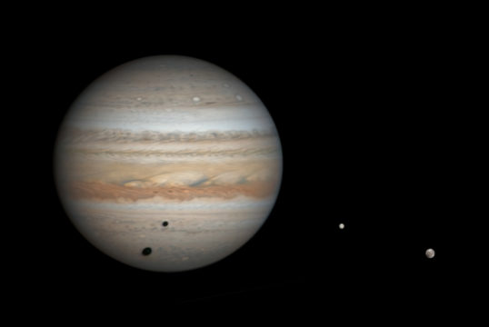 Jupiter, Ganymede, Europa and double shadows, March 25, 2019