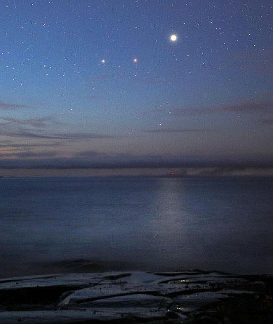 Planetary trio at dawn