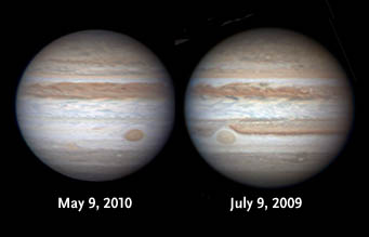 Jupiter's appearance in 2009 and 2010