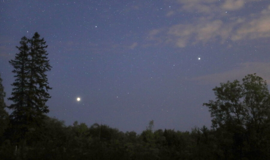 Jupiter and Saturn appear in the southeastern sky at nightfall August 1, 2021.
