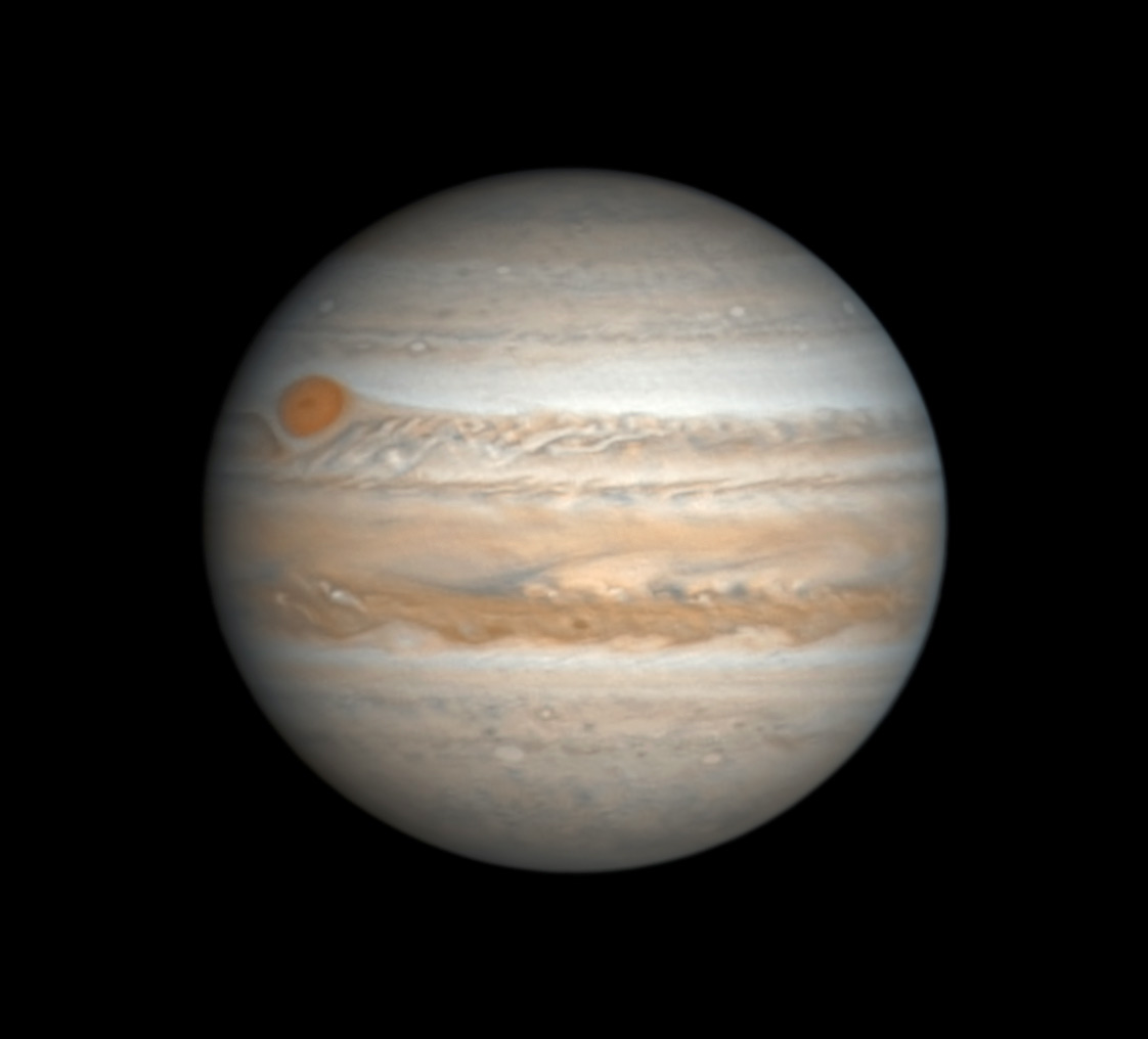 Jupiter with Red Spot on March 8, 2019