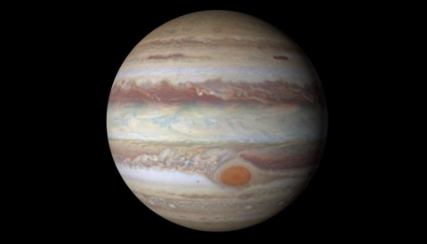This image is a computer reprojection of Hubble Space Telescope data of Jupiter.