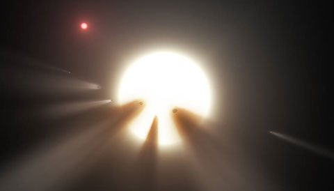 Tabby's star, also known as KIC 8462485, showed a strange series of dips in its lightcurve that astronomers thought they could explain with a swarm of comets breaking apart in the star's gravity.