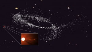 Kapteyn's star and its planets likely come from a dwarf galaxy now merged with the Milky way.  Victor Robles / James Bullock / Miguel Rocha / Joel Primack
