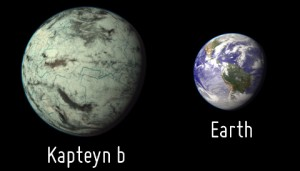 Artistic representation of the potentially habitable exoplanet Kapteyn b as compared with Earth. Kapteyn b is represented here as an old and cold ocean planet with a network of channels of flowing water under a thin cloud cover. Planetary Habitability Laboratory
