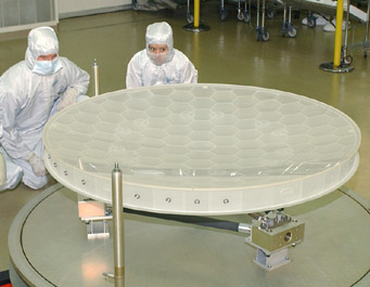 Kepler's primary mirror in cleanroom