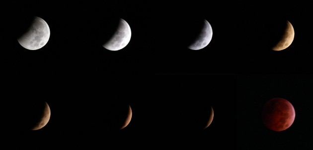 Sequence of lunar eclipse images