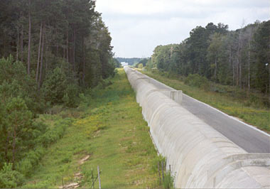 The tunnel for one of the LIGO arms in Livingston, Louisiana. Having two units nearly 2,000 miles apart provides essential error checking and would help show the incoming direction of any gravitational waves.