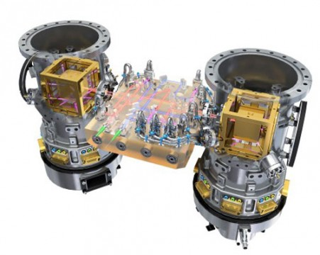 Two masses (gold cubes) are suspended on either side of the science package aboard LISA Pathfinder. ESA / ATG Medialab