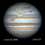 Several days ago, Jupiter's Little Red Spot (LRS) was well separated from the Great Red Spot (GRS) and Oval BA, but closing in on them.
