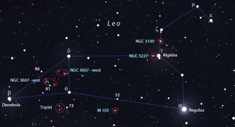 Leo galaxies finder chart