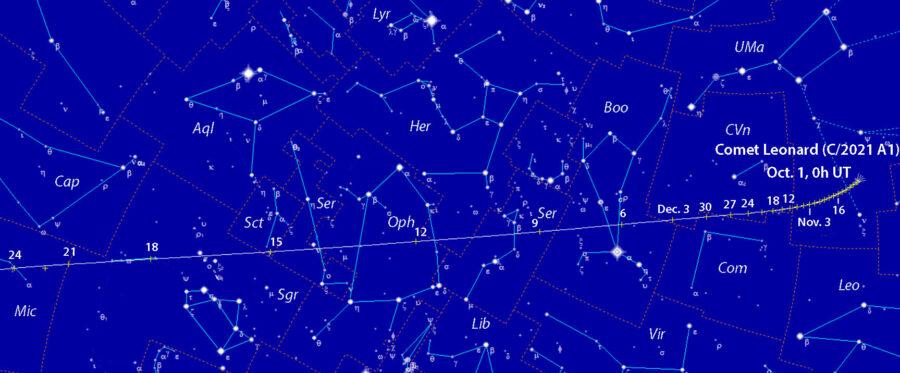 Comet Leonard finder chart