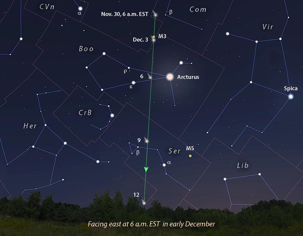 Comet Leonard wide-view map