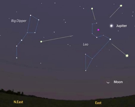 Brilliant Jupiter points right to the Leonid radiant
