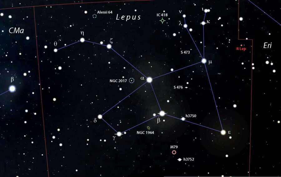 Lepus double star and deep-sky map