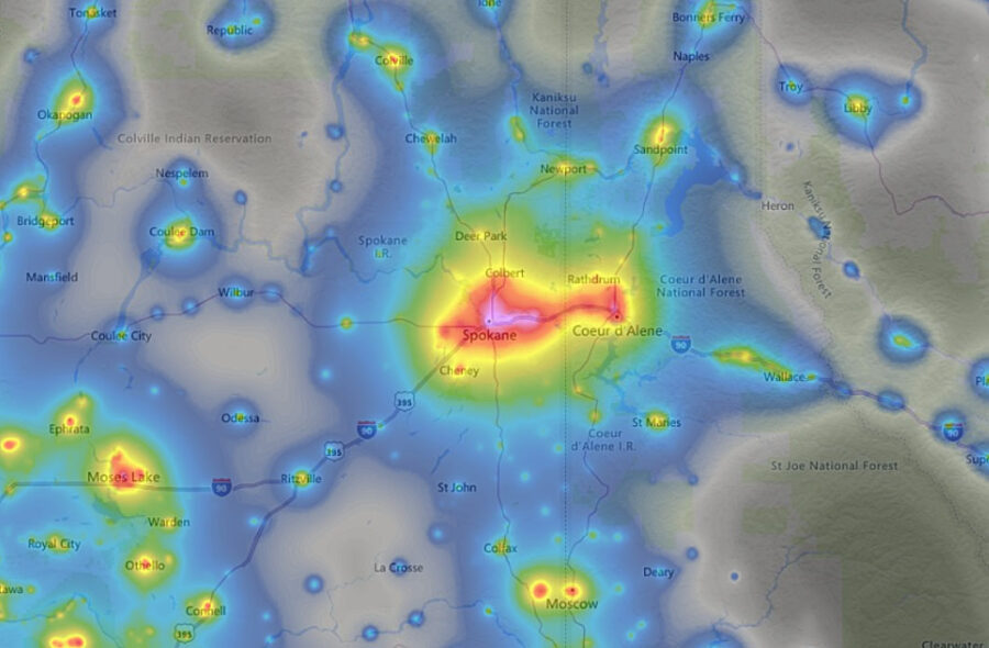 Light pollution map showing a view of Spokane and surrounding areas.
