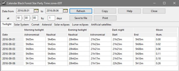 """The calendar in the freeware planetarium program Cartes du Ciel provides helpful information such as the """"Dark Night"""" period that is best for deep-sky astrophotography after the end of evening astronomical twilight and before the start of morning astronomical twilight when the Moon is not in the sky."""