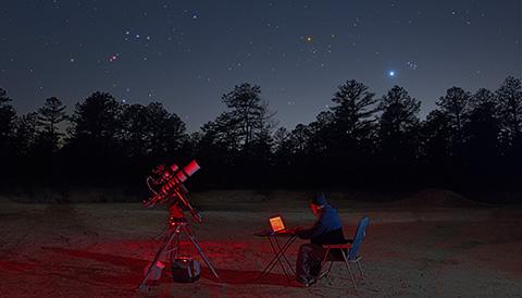Jerry Lodriguss self portrait with Venus, Orion, Hyades, Pleaides. April 11, 2015. Copyright 2015 Jerry Lodriguss