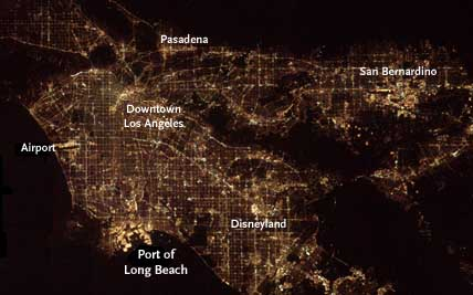 Los Angeles at night from space