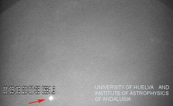 An image of the flash resulting from a meteorite slamming into the unlit side of the Moon's surface on September 11th, 2013.