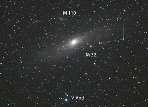 Andromeda Galaxy family portrait including its core-disk duality and two of its satellite galaxies: M32 and M110!