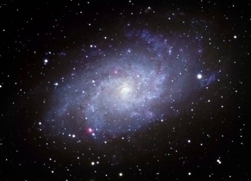 he Triangulum Galaxy, also called M33 or the Pinwheel Galaxy, is an easy catch in binoculars under light-pollution-free skies.