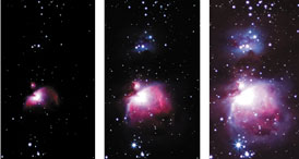 Orion Nebula at different exposures