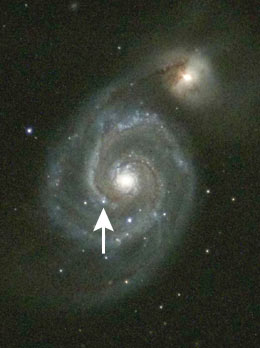M51 with supernova arrowed