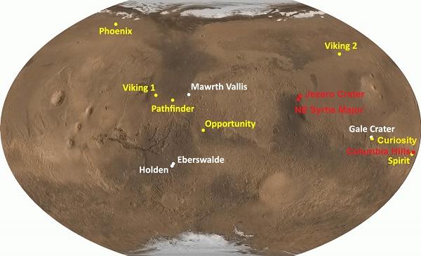 NASA landing sites