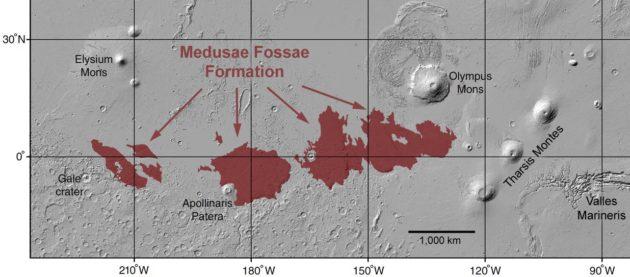 Map of Medusae Fossae Formation