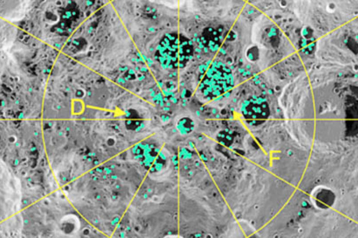 Map of ice at lunar south pole