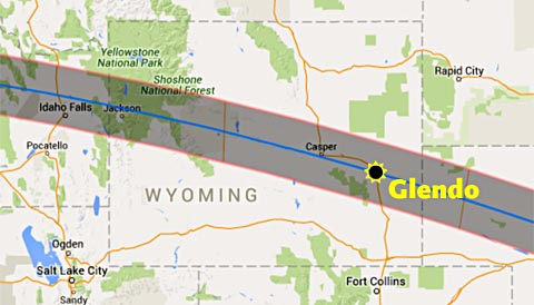 2017 eclipse map with Glendo, Wyoming