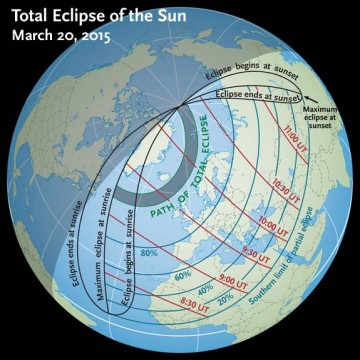 The far-north path of March's total solar eclipse