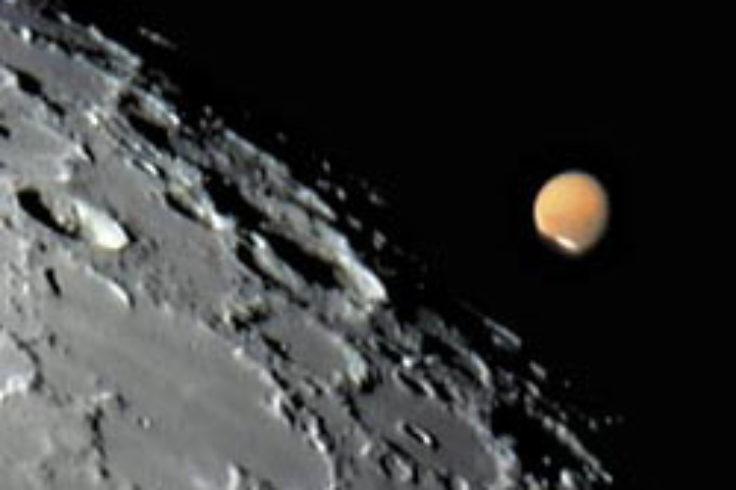 Mars at the moon's edge