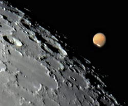 Mars at the moon's edge