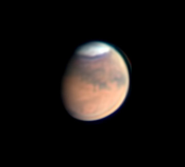 Mars on May 5, 2020, when the South Polar Cap was still very large.