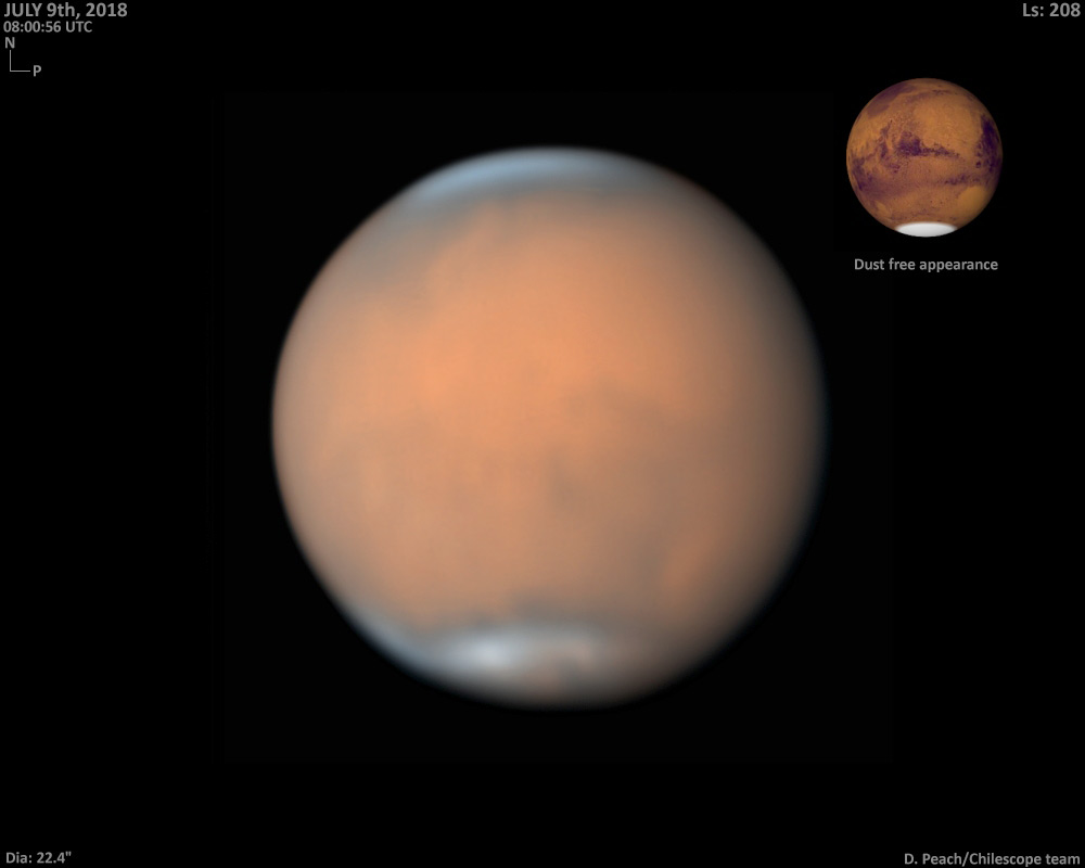 Mars with global dust storm, July 9, 2018