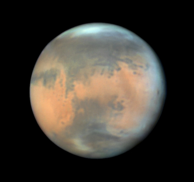 Mars as imaged by Damian Peach on June 8, 2016