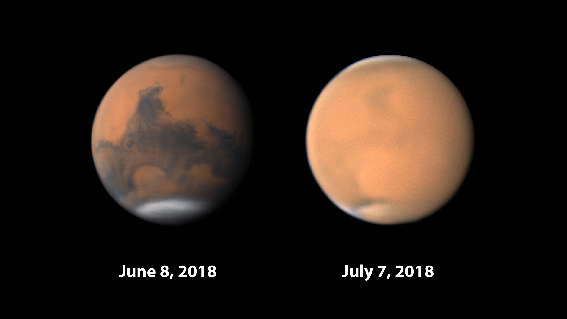 Mars clear-dusty comparison